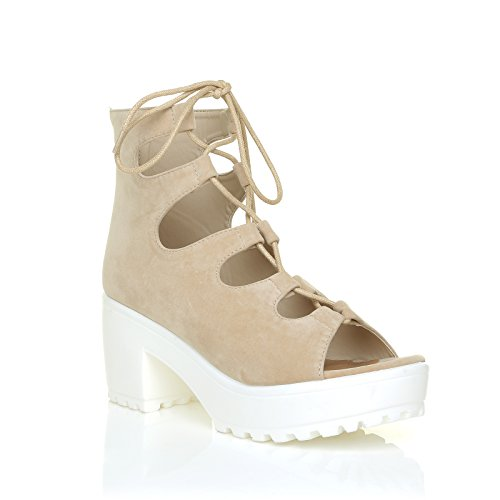 ShuWish UK Lilly, Sandales pour femme beige Daim Chair