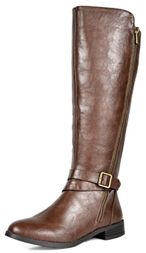 TOETOS Women's Donna Brown Knee High Winter Riding Boots Size 8.5 M US