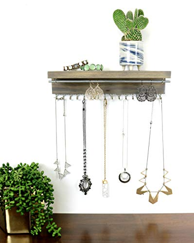 The Knotted Wood Jewelry Organizer, Necklace Holder and Earring Holder (12