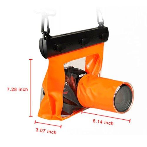 一眼レフカメラ防水ハウジングケース 防水ケース オレンジ 245*245*35mm   B00DQ40ADY