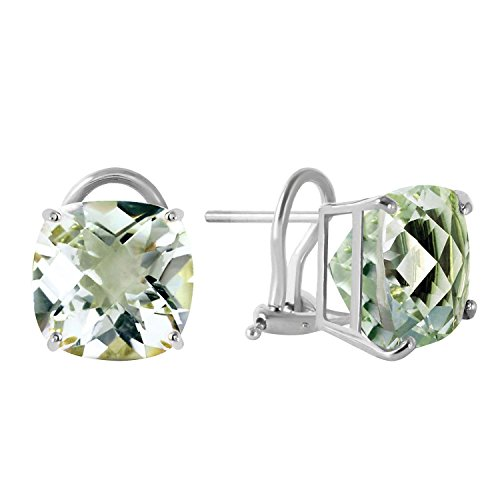 Green Ring Gold Amethyst (7.2 Carat 14k Solid White Gold French Clips Earrings Green Amethyst)