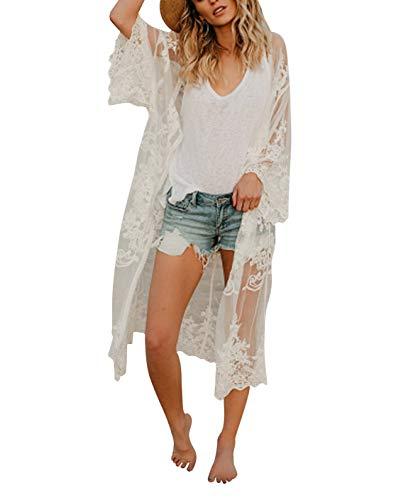 (Women's Bathing Suit Kimono Beach Cover Up Lace Crochet Pool Swimwear (White, M))