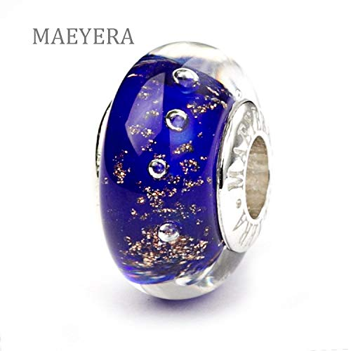 - Calvas Authentic 925 Sterling Silver Simple Charm Gold Sand Deep Blue Murano Glass Beads Fit European Charm Bracelet 920179
