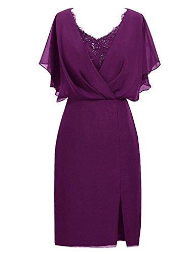 VaniaDress Women V Neck Beading Short Evening Dress Formal Gown V087LF Grape Purple US17W from VaniaDress