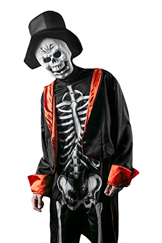 Skeleton Zombie Adult Mens Costumes (Men's Skeleton Bone Daddy Skull Walking Dead Dress Up & Role Play Halloween Costume (Medium/Large))