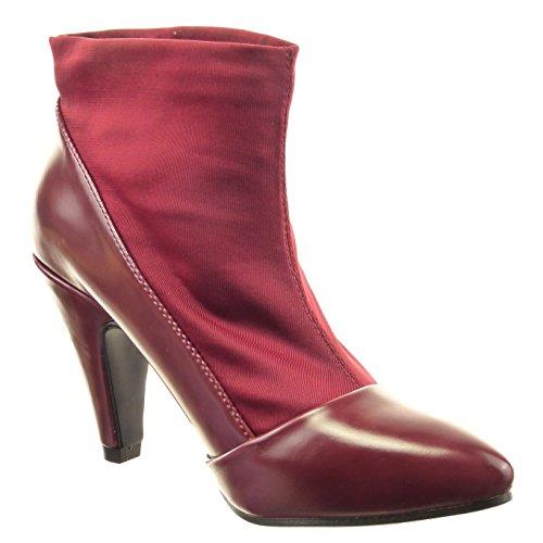 Sopily - Zapatillas de Moda Botines flexible A medio muslo mujer brillantes Talón Tacón ancho alto 9 CM - Rojo
