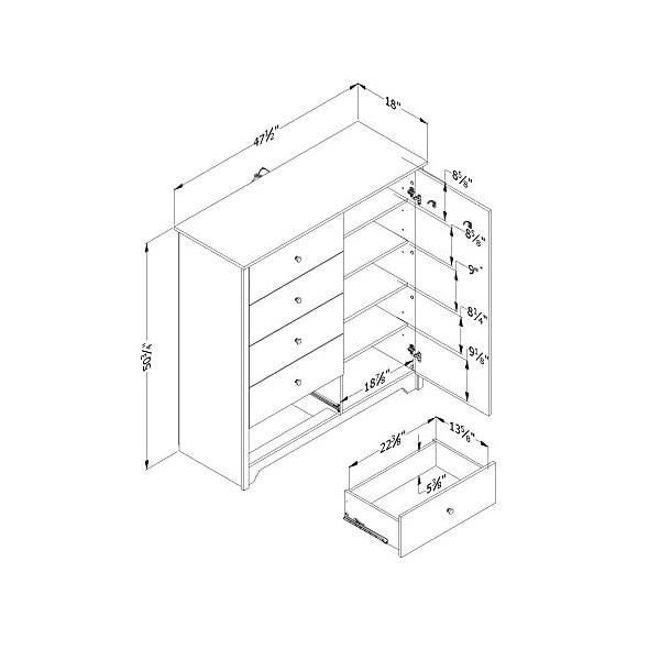 South Shore Vito Door Chest with 5 Drawers