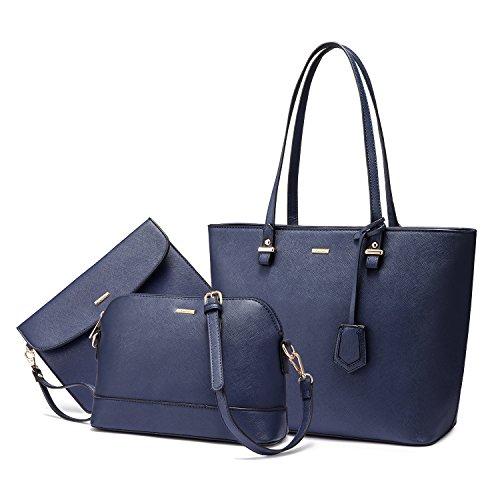 Handbags for Women Shoulder Bags Tote Satchel Hobo 3pcs Purse Set Dark Navy Blue (Purse Perfume New)