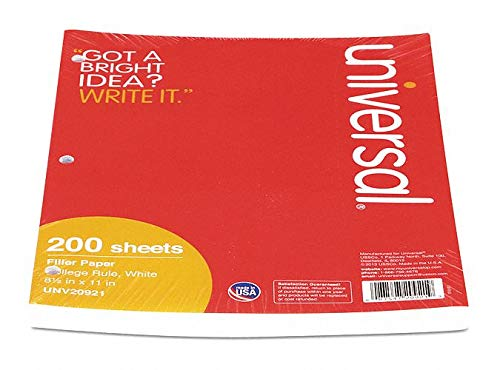 Filler Paper, College Rule, 8-1/2 x 11'' Sheet Size - pack of 5