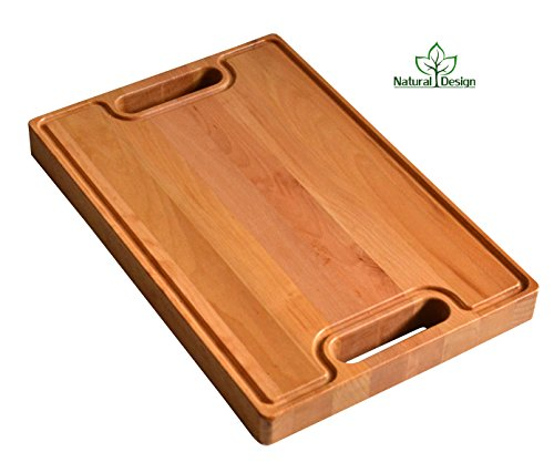 Cutting Board 18 x 12 x 1.6 inches Edge Grain Chopping Block Wood: Beech Hardwood Extra Thick Appetizer Serving Platter Durable & Resistant