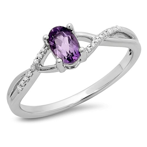 10K White Gold Amethyst & White Diamond Bridal Swirl Engagement Promise Ring (Size 8.5) (Amethyst Swirl Ring)
