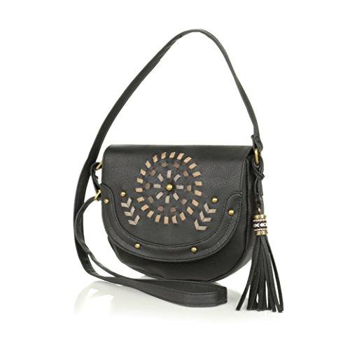 Black Embroidered Faux Leather Crossbody, Saddle Bag w/Fringe Aztec Tassel Purse