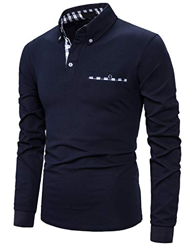 IVAN-LI Men's Casual Polo Shirts Long Sleeve Striped Collar T-Shirts with Pocket