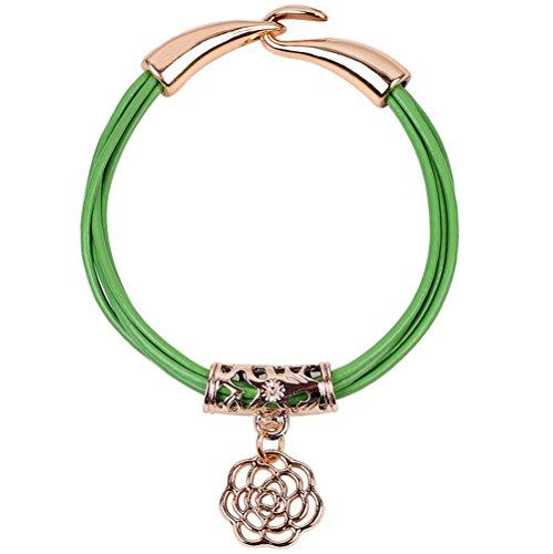 Price comparison product image Winter's Secret Hollow Carving Alloy Rose Flower Pedant Green Leather Wrap Bracelet