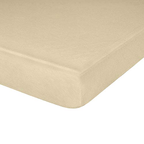 """Jersey Knit Fitted Cot Sheet, Soft Material, Suitable for Twin Beds, Toddler Mattresses, Camping, RVs, Daycare Cots, Solid Colors, Great for Boys & Girls, 75"""" x 33"""", Cream, 1 Pack"""