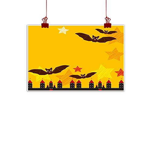 Mannwarehouse Wall Art Decor Poster Painting Halloween Card Banner Design for Text with Castle Pumpkin Stars Bats Night Sky Black Yellow Orange red Background Vector Decorations Home Decor 35