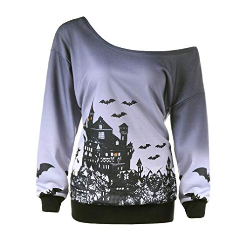 (vermers Women Halloween Pullover Tops - Women Fashion Witch Bat Printed Party Sweatshirt Casual Skew Neck Jumper Blouse(L, Gray))