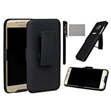 xhorizon® Black Premium Shell Combo Protective Case Cover Slide Rubberized Ribbed Texture Shell For Samsung Galaxy S3/S4/S5/S6 Note 3/III Note 4 iPhone 4S 5/5S iPhone 6/6 Plus 6+ And Back Holster With Dual Function 360 Degree Rotation Swiveling Ratch Kick-Stand Belt Clip ZA5