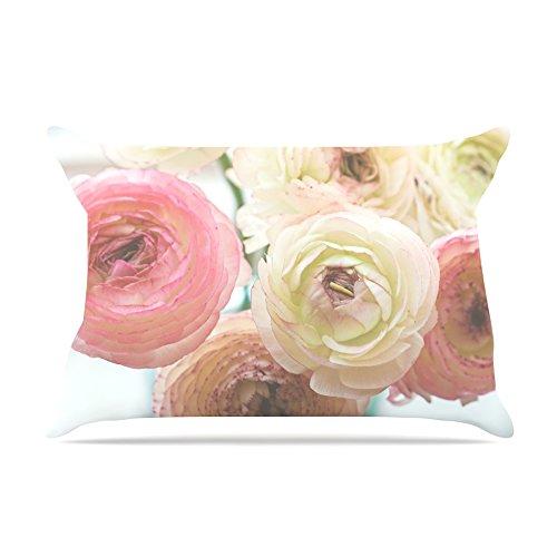 Kess InHouse Debbra Obertanec Pastel Ranunculus Pink White Fleece Pillow Case 30 x 20