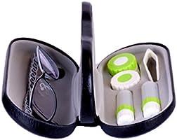 Estuche para Gafas y Lentillas con Espejo Incorporado ROSENICE 2 en 1 Funda Gafas Caja de Lentes de Contacto Kit de Viaje Negro: Amazon.es: Salud y cuidado personal