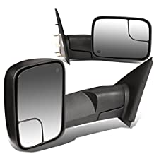Dodge RAM Pair of Black Powered + Heated Glass + Manual Foldable Side Towing Mirrors