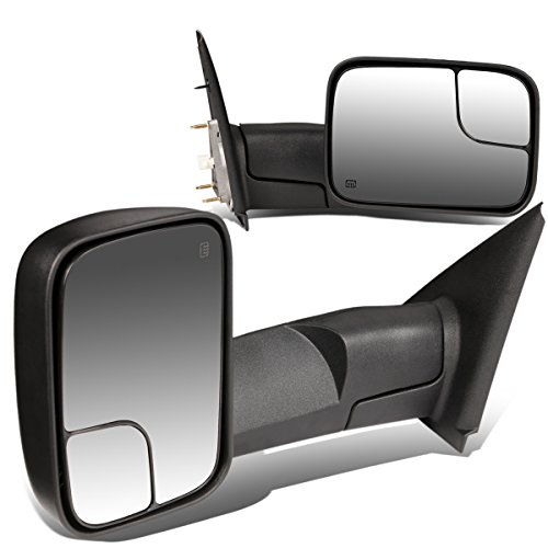 (For Dodge RAM Pair of Black Powered + Heated Glass + Manual Foldable Side Towing Mirrors)