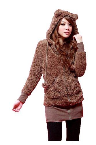 [CA Mode Women's Bear Ear Hoodies Zip-up Outerwear Jacket] (Ca Women Women Hoodies)