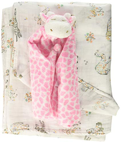 Angel Dear Swaddle and Blankie Gift Set, Savannah Floral with Pink Giraffe