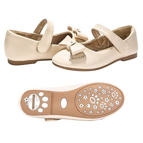 PANDANINJIA Toddler/Little Kids Felicia Bow Wedding Party Ballet Flower Mary Jane Girls Flats Dress Shoes ()