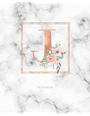 Notebook: Marble Rose Gold Monogram Initial Letter J with Marble and Pink Floral Notebook Journal for Women, Girls and School Wide Rule (7.5 in x 9.25 in)