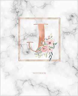Amazon Com Notebook Marble Rose Gold Monogram Initial Letter J