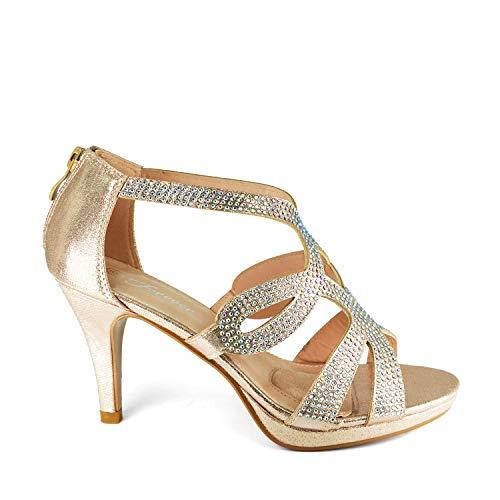 - GottaBe Shoes Women's Crystal Rhinestone Cutout Platform Mid Heel Dress Sandal (7.5, Champagne)
