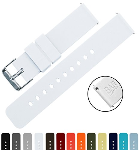 BARTON Silicone Quick Release - 24mm Width - Choice of Color - White 24mm Watch Band Strap