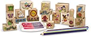 Melissa & Doug Stamp-a-Scene Stamp Pad: Fairy Garden - 20 Wooden Stamps, 5 Colored Pencils, and 2-Color St