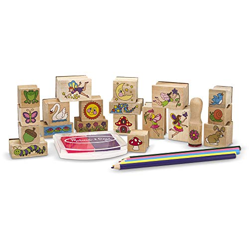 Melissa & Doug Stamp-a-Scene Wooden Stamp Set: Fairy Garden, 20 Wooden Stamps, 5...