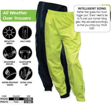2XL Oxford Rainseal Waterproof Over Trousers Black