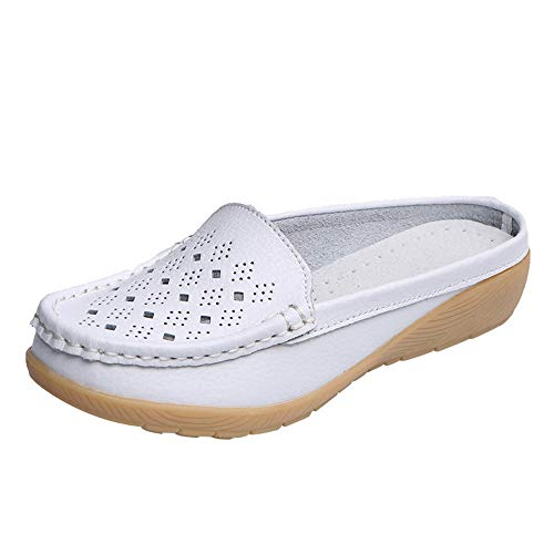 (Women's Loafer Flat Shoes - 【MOHOLL 】 Casual Wedges Soft Bottom Shoes Outdoor Slip On Half Slipper Peas Boat Shoes White)