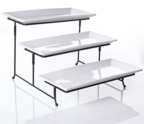 Food Display Server - 3 Tier Collapsible Thicker Sturdier Plate Rack Stand With Plates - Three Tiered Cake Serving Tray - Dessert Fruit Presentation - Party Food Server Display Set - 3 White 12' x 6