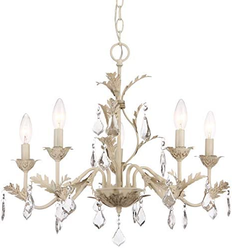Kira Home Astoria 21 French Country Shabby Chic 5-Light Chandelier, Leaf Design Hanging Crystals, Antique White Finish