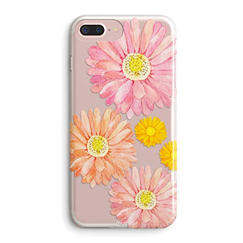 iPhone 8 Case,iPhone 7 Case for Women,Girls Cute Elegant Spring Floral Flower Sunflower Bloom Pink Pattern Clear Design Transparent TPU Bumper Protective Case Compatible for iPhone 7/8 (4.7 Inch)