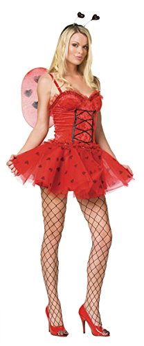 GTH Women's Love Bug Ladybug Fairy Outfit Fancy Dress Sexy Costume, M/L (8-14)