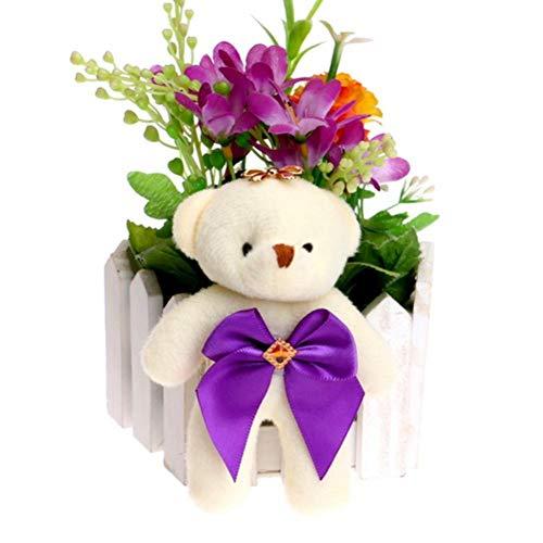 Candy Bow Bear Plush Toys Satin Cartoon Bouquet Plush Bear Doll Wedding Children Toy Phone Key Pendant