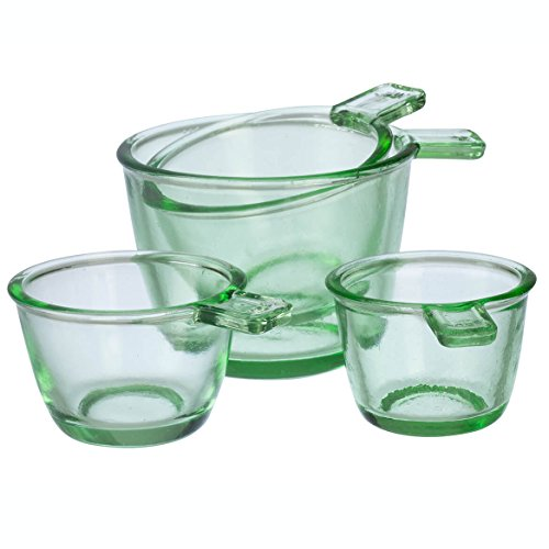Nostalgia Style Dry Measuring Cups by Home Marketplace, Classic Green Glass, 4 Piece Set ()