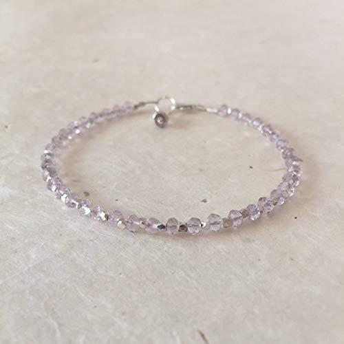 (Pink Amethyst Karen Hill Tribe Thai Silver Beaded Stacking Bracelet, Sundance Style, February Birthstone, February Birthday, Dainty Bracelet 2-4mm by Gemswholesale)