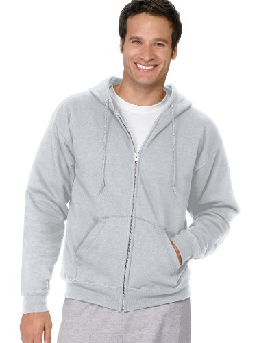 Hanes Adult EcoSmart Full Zip Hood, Ash, (Ash School Pride T-shirt)