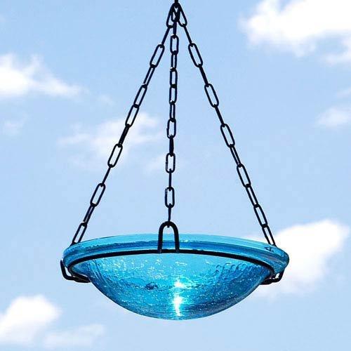 Achla Designs Crackle Glass Hanging Birdbath, 12-in bowl, Teal