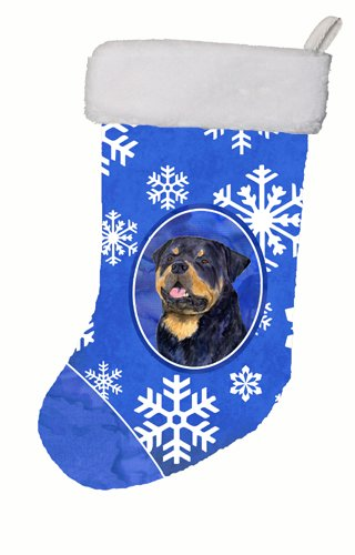 Caroline's Treasures SS4662-CS Rottweiler Winter Snowflakes Christmas Stocking, 11 x 18, Multicolor ()