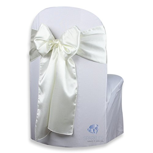 Sparkles Make It Special 50 pcs Satin Chair Cover Bow Sash - Ivory - Wedding Party Banquet Reception - 28 Colors Available