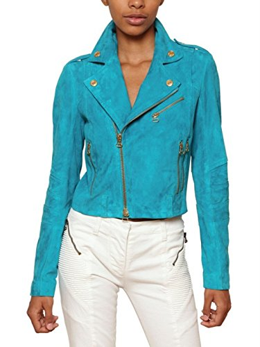 World of Leather Moto Lambskin Suede Leather Jacket Blue ...