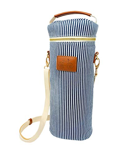 Single Bottle Wine Tote | Wine Bottle Canvas Carry Bag | Insulated Cooler Bag | Corkscrew Included | Great Wine & Bicycle Lover Present | Gift for Her (Navy Striped, Single)